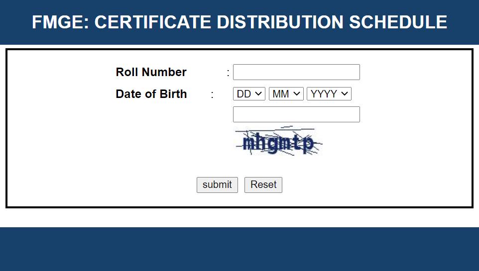 certificate FMGE Pass Certificate