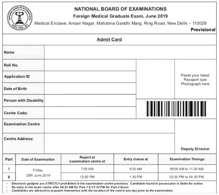 admit FMGE Admit Card Admit Card, FMGE, Foreign Medical Graduation Exam, MCI, MCI Screening
